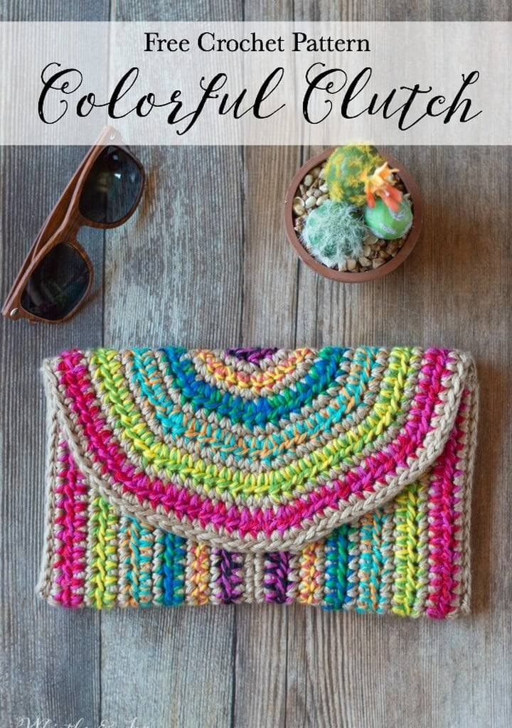 Rica Colorful Crochet Clutch Free Crochet Pattern