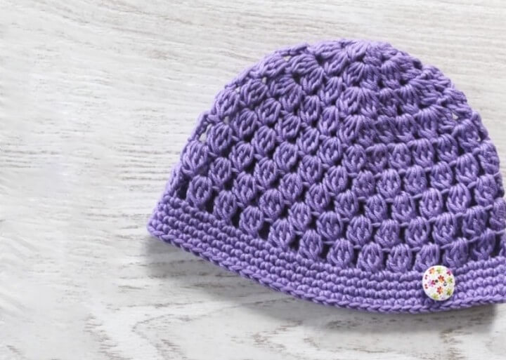 Simple Crochet Hat Tutorial With One Button