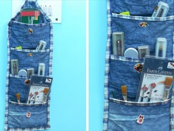 DIY Multipurpose Organizer form Old Jeans Denim