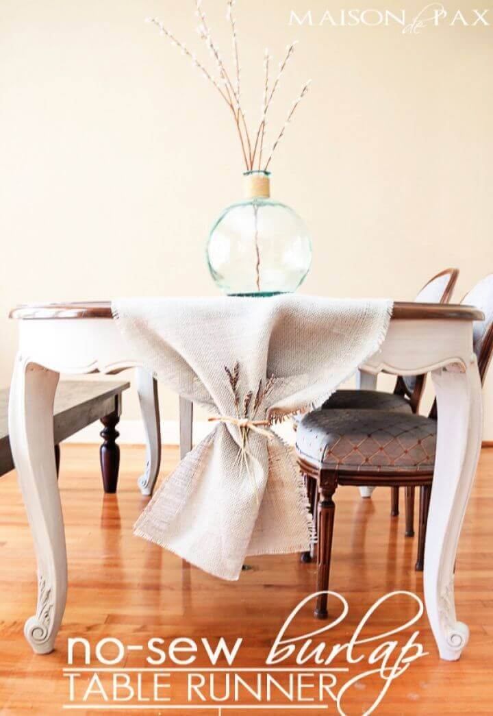 Build A DIY No Sew Burlap Table Runner