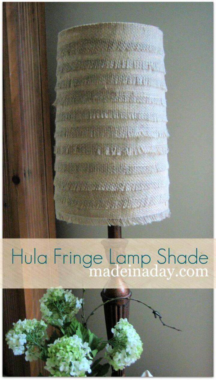 DIY Hula Fringe Flower Burlap Lamp Shade