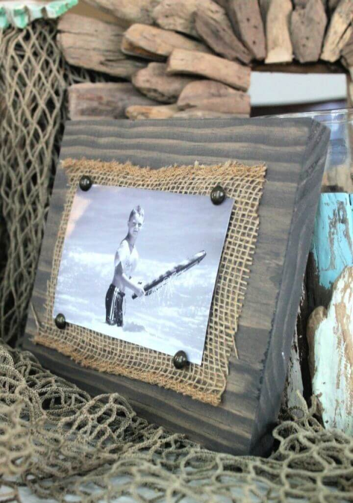 DIY Scrap Wood And Burlap Picture Frame