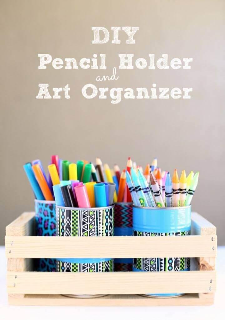 Duck Tape Pencil Holder Art Organizer