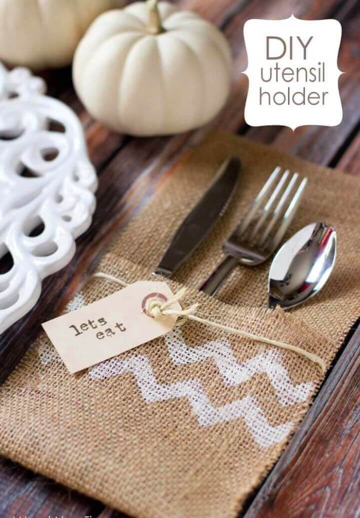 How To DIY Burlap Utensil Holders