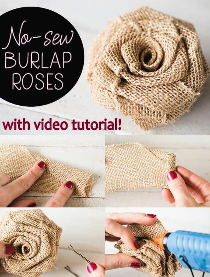 No Sew DIY Burlap Roses