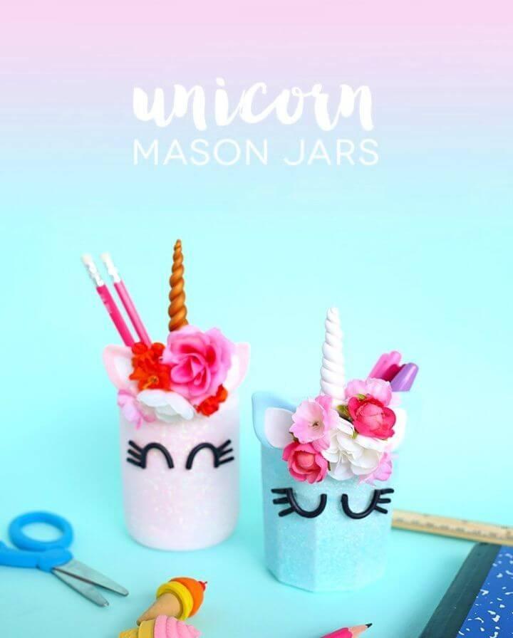 Unicorn Pencil Mason Jars