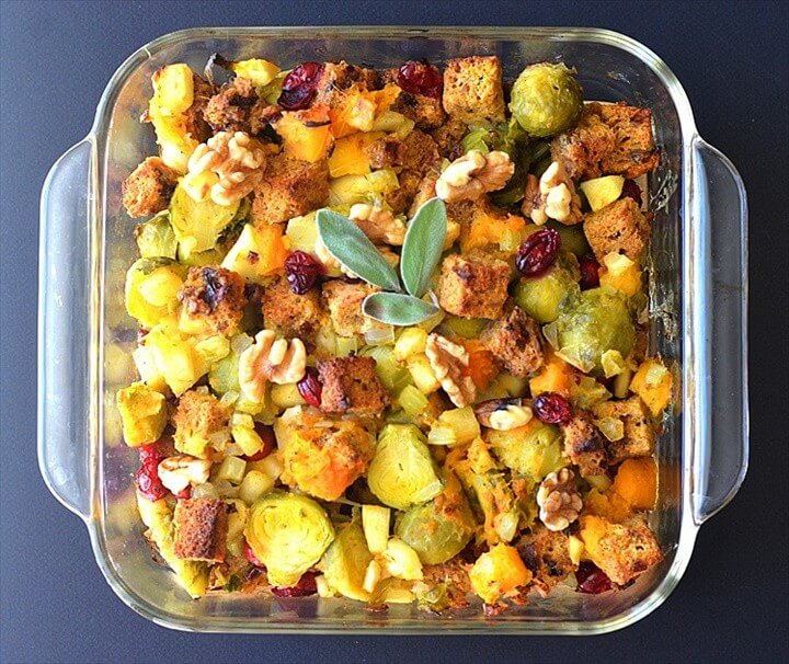 Butternut Brussel Sprout Cranberry Stuffing