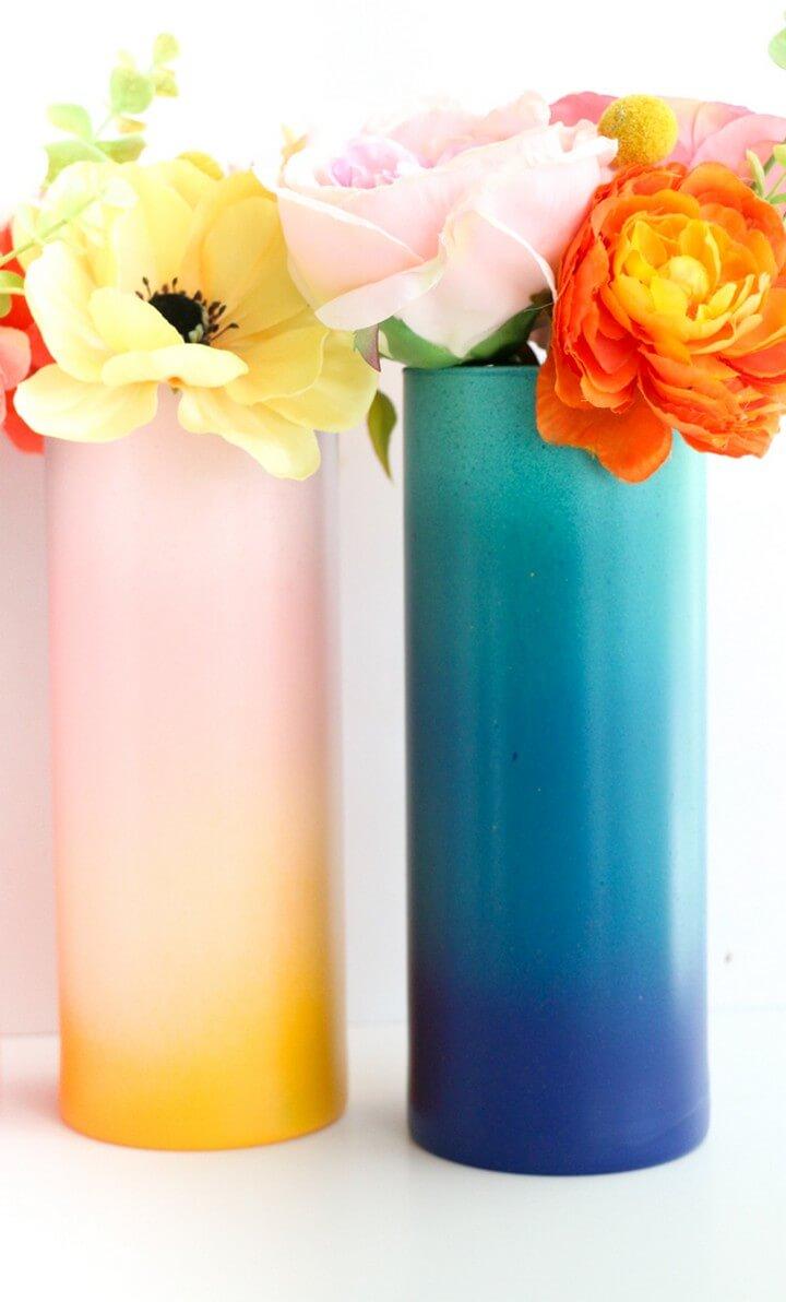 Colorful Gradient DIY Flower Vases Idea