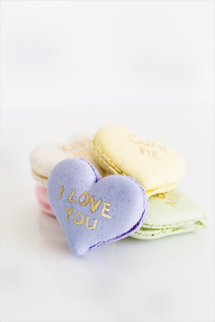 DIY Conversation Heart Macarons