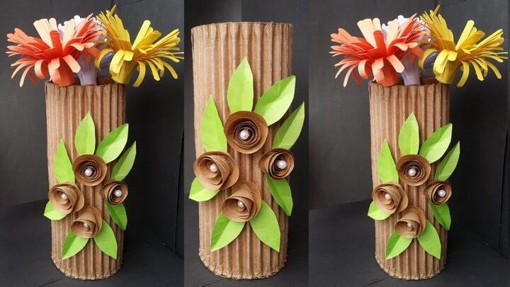 How to Make Beautiful Flower Vase With Cardboard