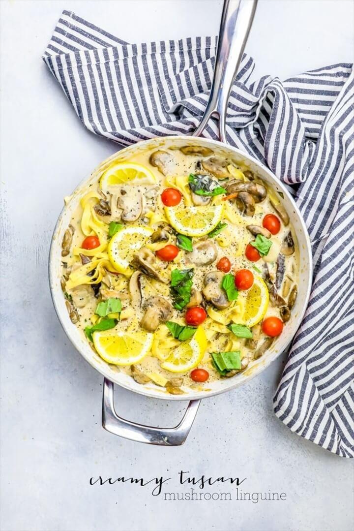 One Pot Creamy Tuscan Mushroom Linguine Recipe