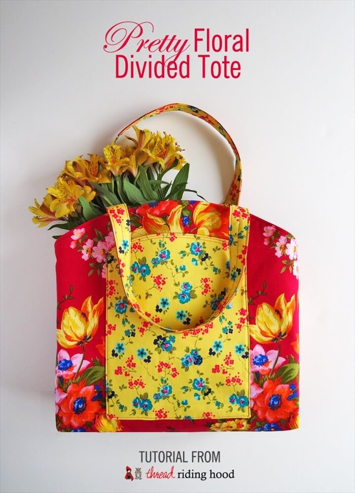 Pretty Floral Divided Tote