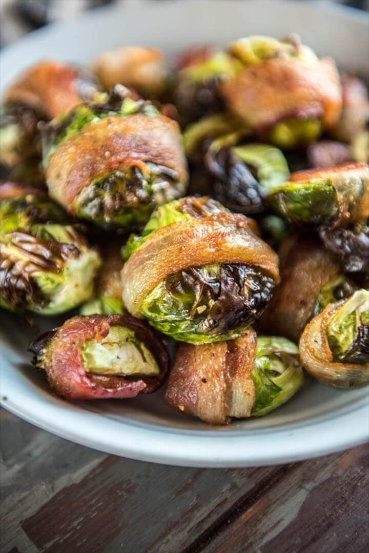 Air Fryer Bacon Wrapped Brussels Sprouts 1
