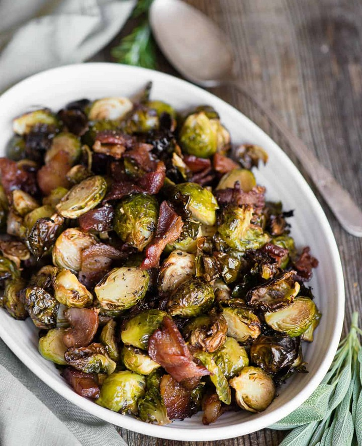 Air Fryer Brussels Sprouts and Bacon 1