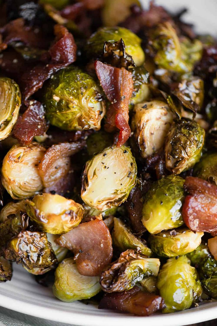 Air Fryer Brussels Sprouts and Bacon 2
