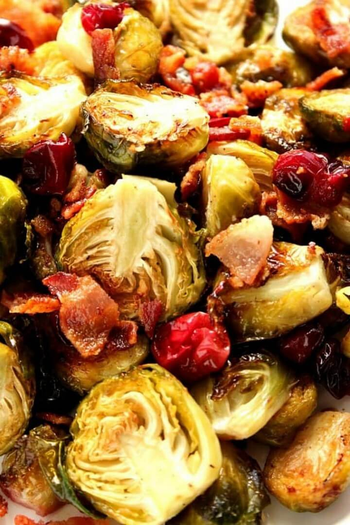 Bacon Roasted Brussels Sprouts with Cranberries Recipe