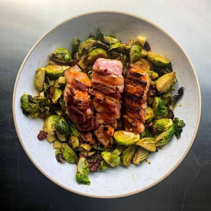 Bacon Wrapped Salmon Roasted Brussels Sprouts