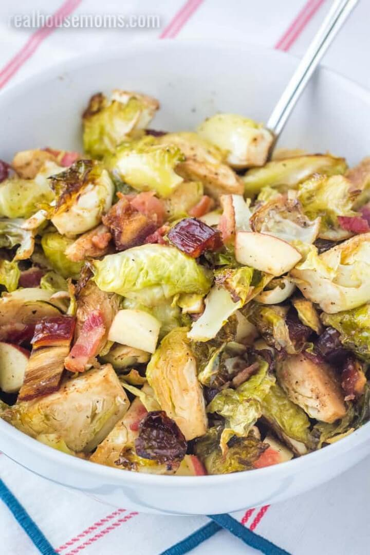 Brussel Sprouts with Bacon Dates and Apples