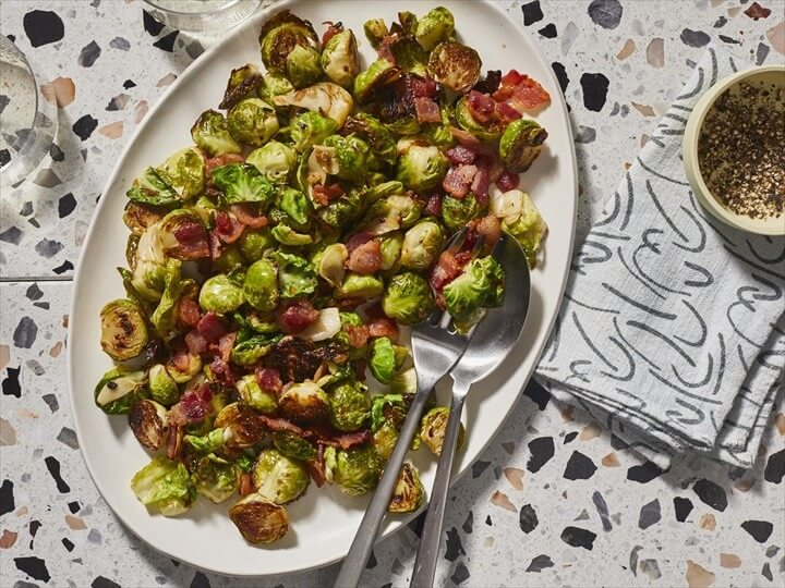Brussels Sprouts with Bacon Garlic and Shallots 1