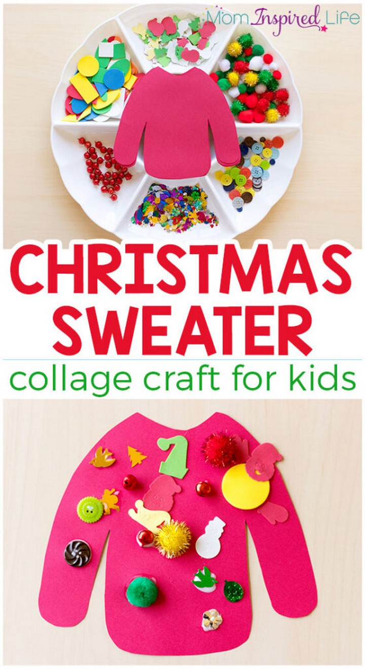 Christmas Sweater Collage Craft for Kids