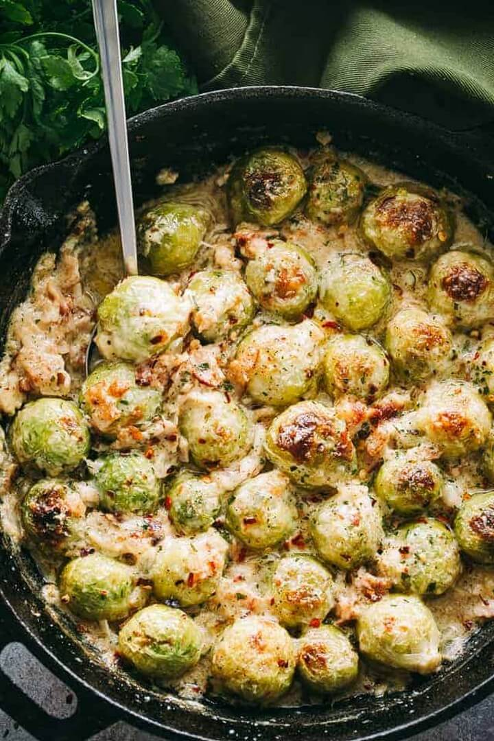 Creamy Cheesy Brussels Sprouts with Bacon Recipe