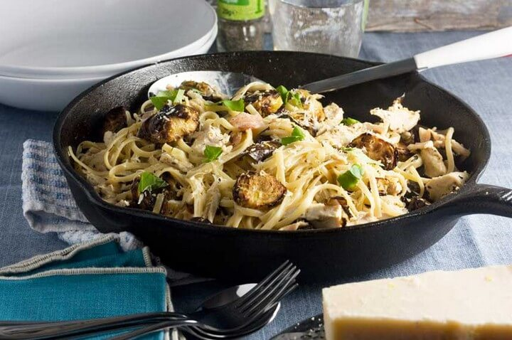 Creamy Turkey Bacon and Brussels Sprouts Linguine