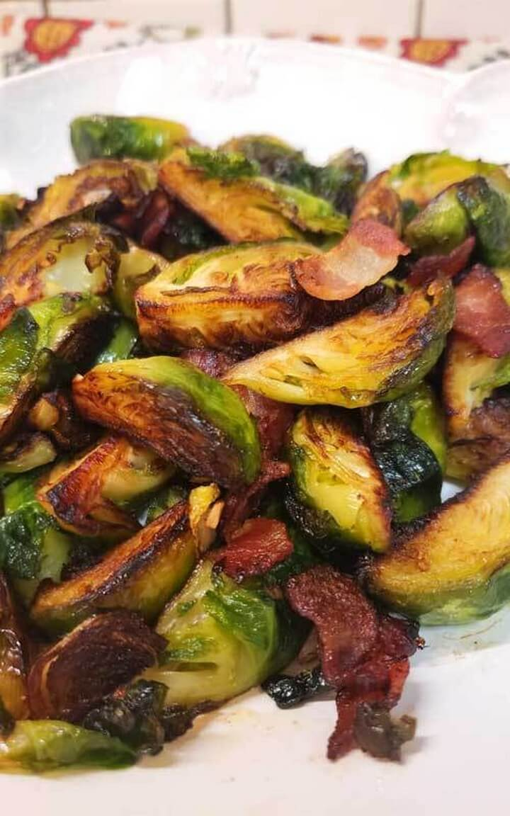 Crispy Skillet Brussels Sprouts with Bacon Garlic Butter