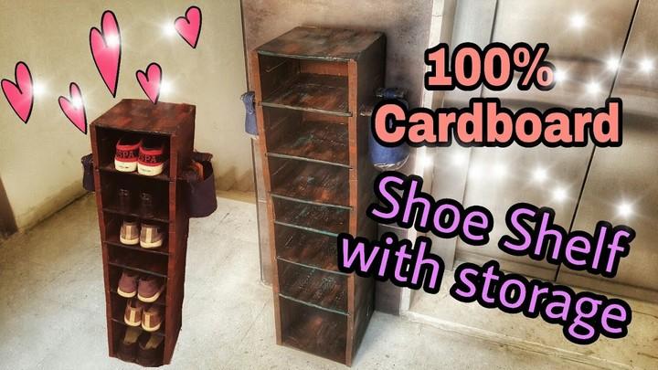 DIY Cardboard Shoe shelf Rustic looks