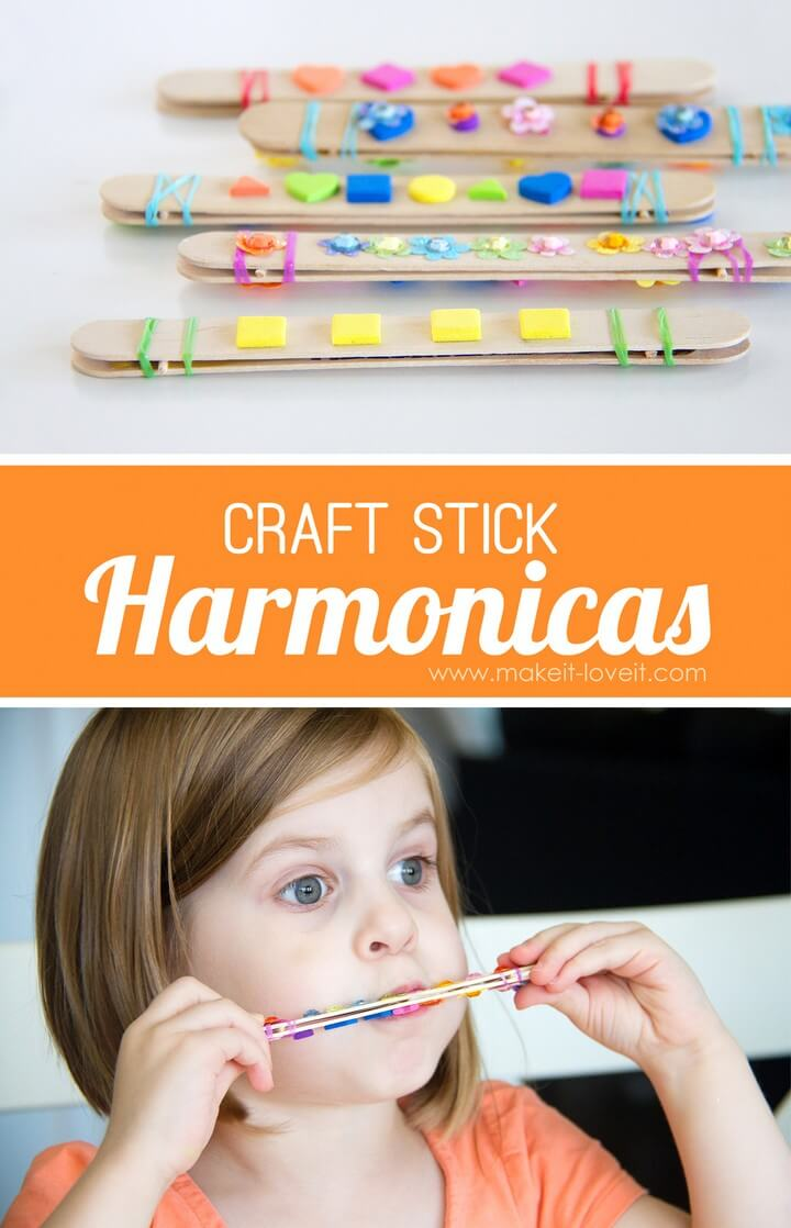 DIY Craft Stick Harmonica Kids Activity