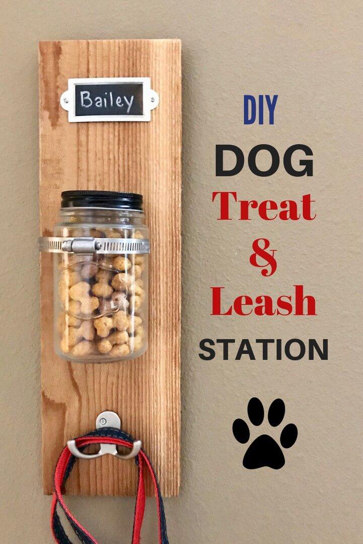DIY Dog Treat and Leash Station Milk Bone Puffs