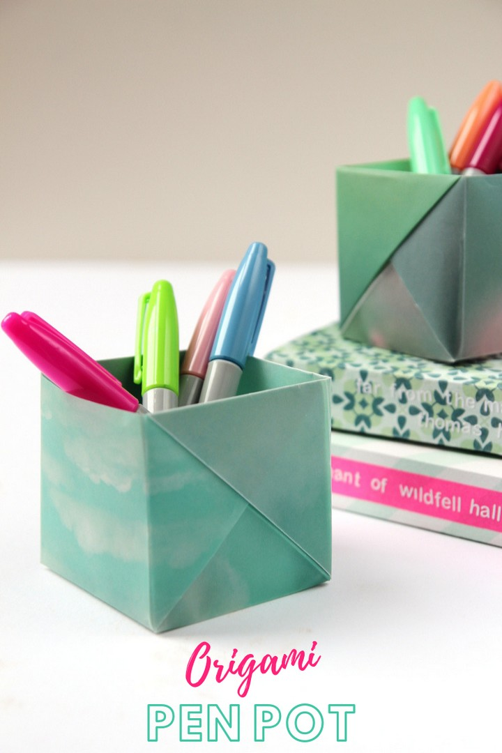 DIY Origami Box Pen Holder