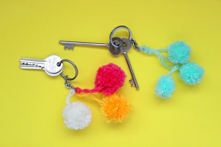 DIY Pom Pom Keychains