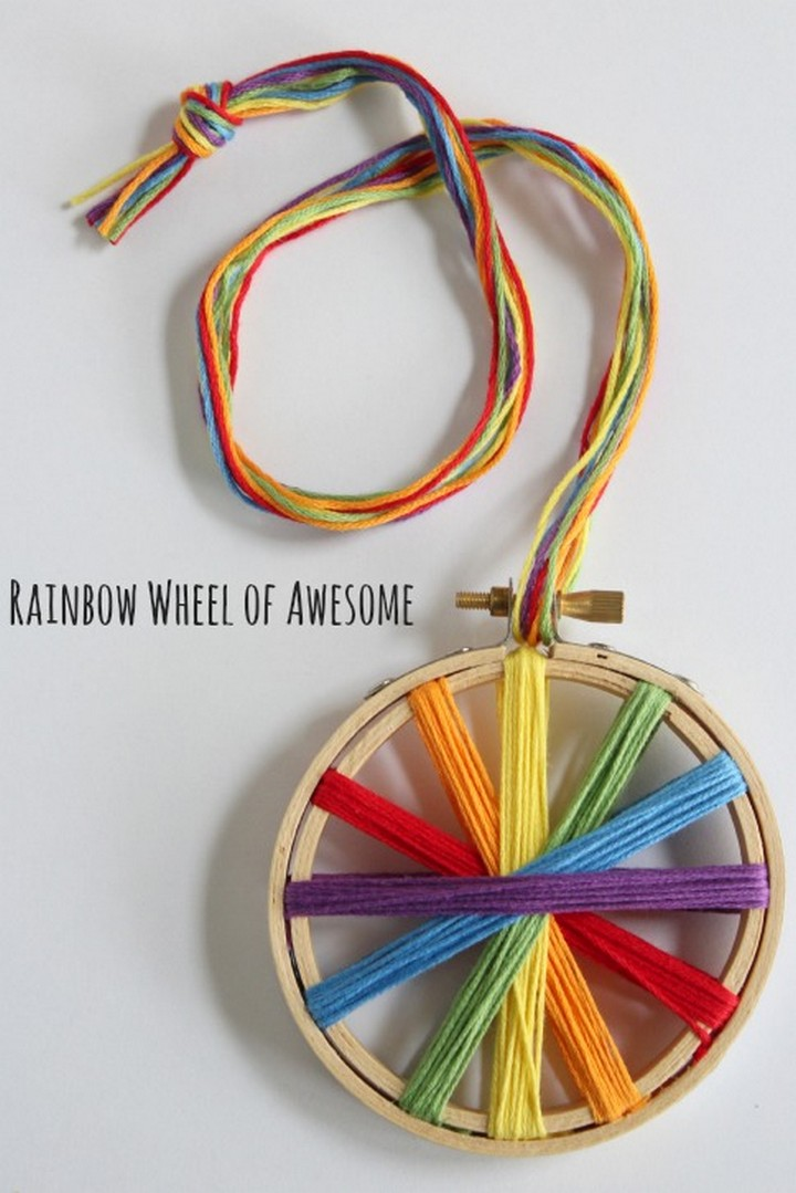 DIY Rainbow Threaded Embroidery Hoop
