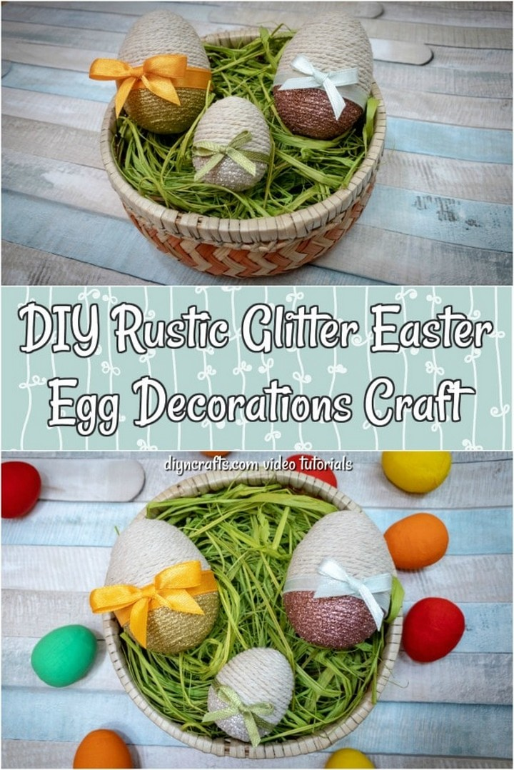 DIY Rustic Glitter Easter Egg Decorations Craft