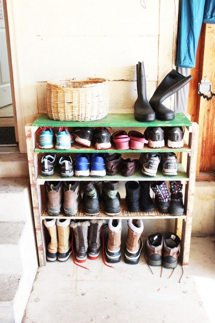 DIY Shoe Storage Shelves for Garage