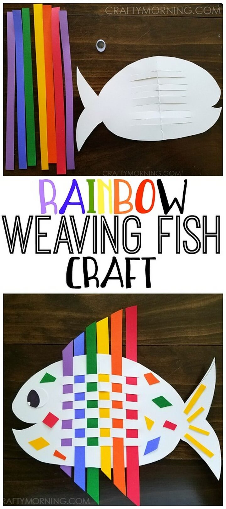 DIY Weaving Rainbow Fish Kids Craft