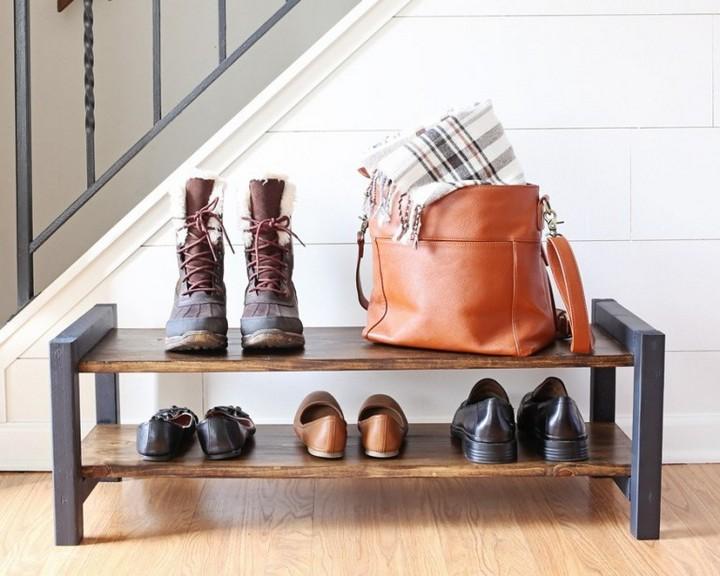 DIY Wooden Shoe Rack of two Stories