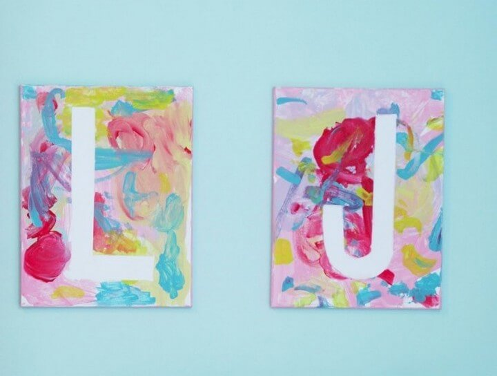Easy DIY Crafts Kid Created Canvas Letters