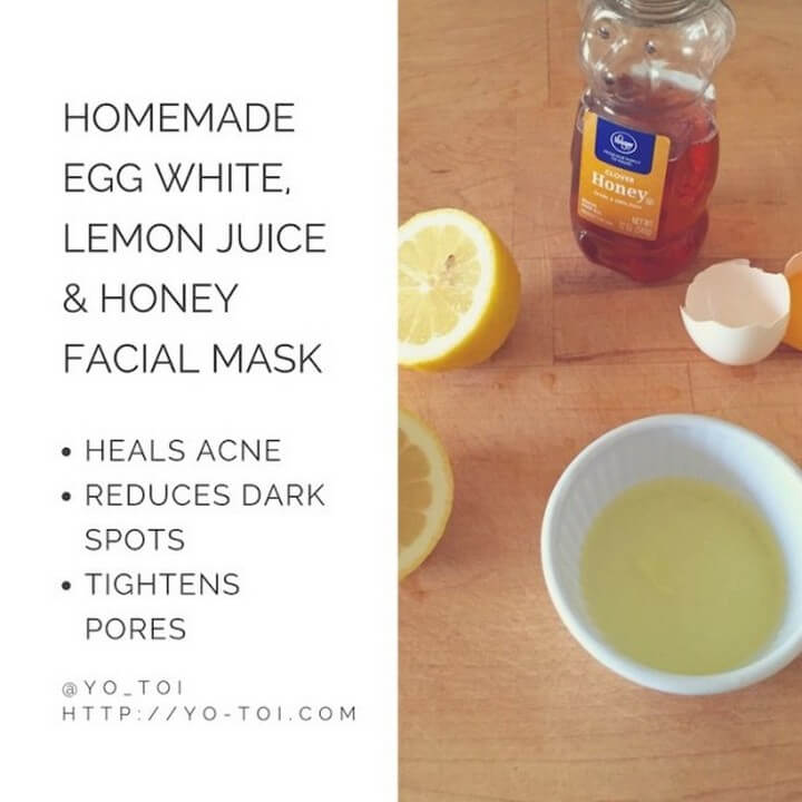 Egg White Lemon Juice Honey Facial Mask for Acne Scars