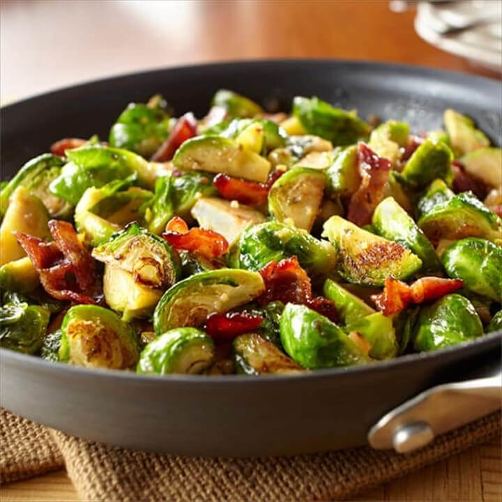 Garlic Brussels Sprouts with Candied Bacon 1