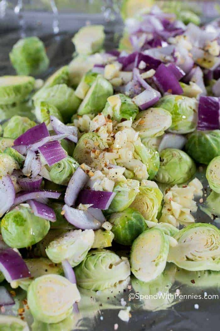 Garlic Roasted Brussels Sprouts with Bacon 1