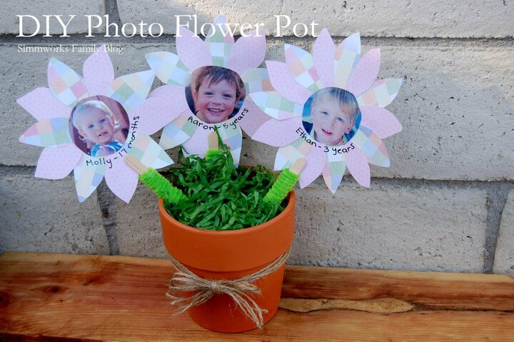 Kids Crafts Photo Flower Pot