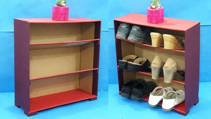 Make Shoe Rack from Waste Cardboard