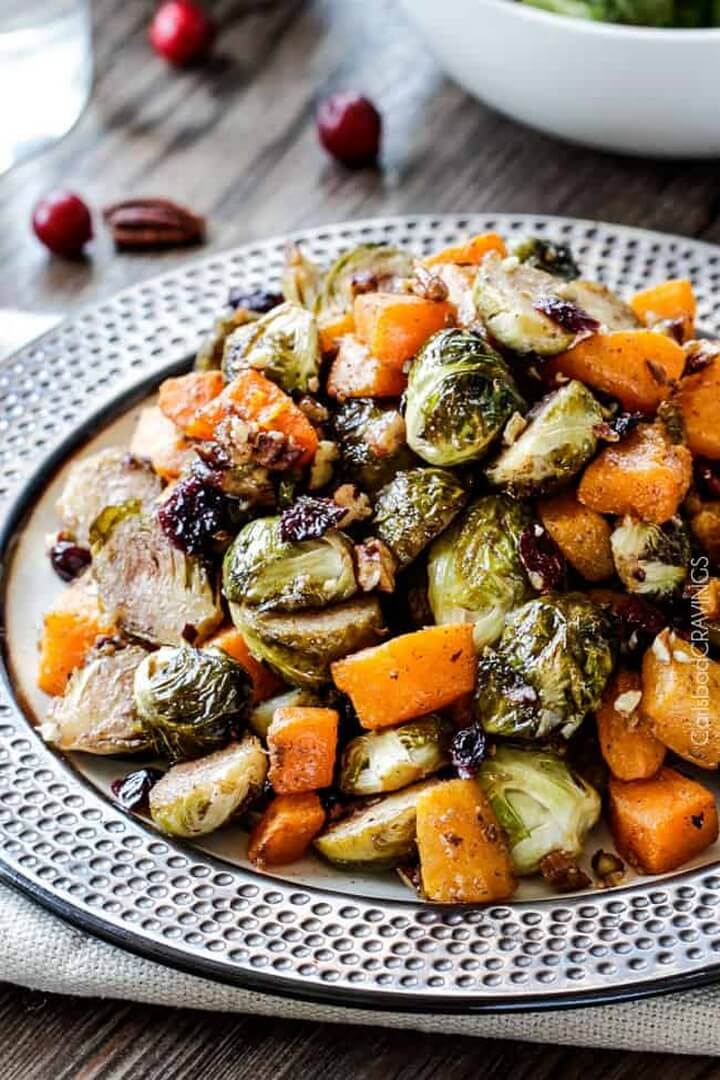 Maple Dijon Roasted Brussels Sprouts and Butternut Squash with Cranberries and Bacon