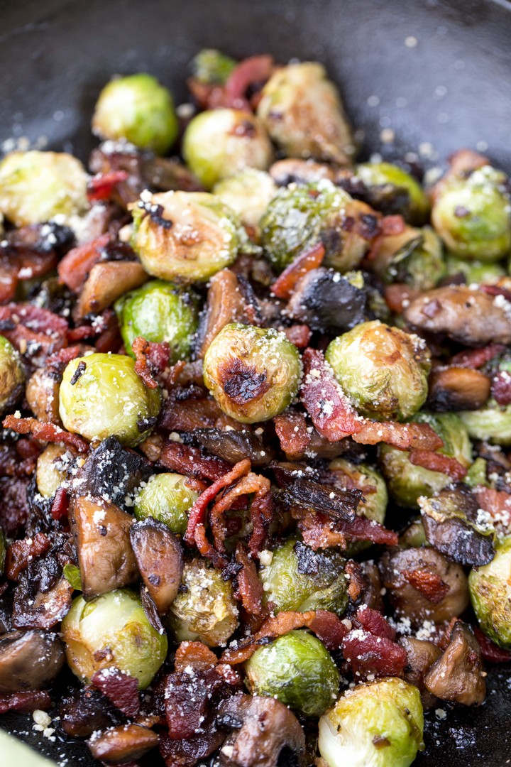 Mushroom Bacon Brussel Sprouts