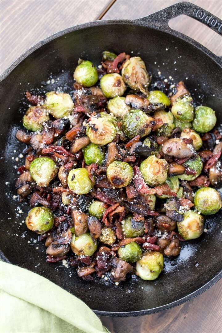Mushroom Bacon Brussel Sprouts 1