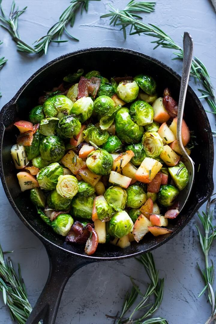 Paleo Roasted Brussels Sprouts with Bacon Apples Whole30 1