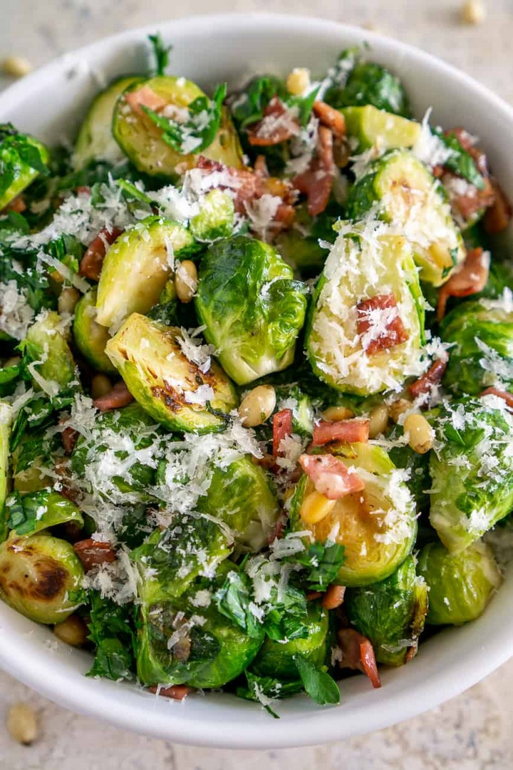 Pan Fried Brussels Sprouts with Turkey Bacon and Parmesan 1
