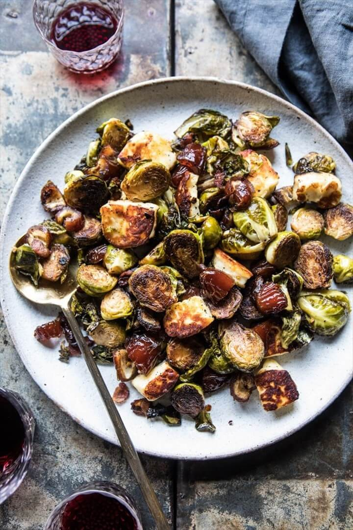 Pan Roasted Brussels Sprouts with Bacon Dates and Halloumi 1