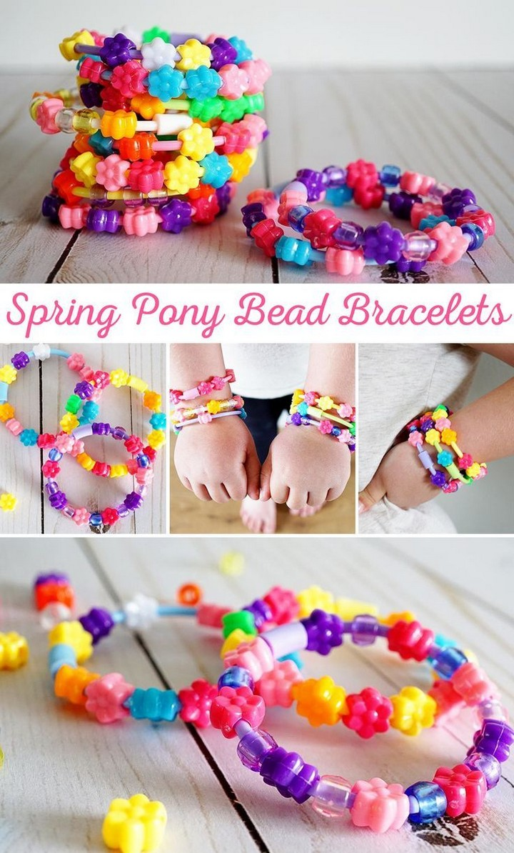 Pony Bead Bracelets to make Spring Bracelets